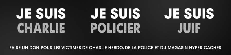 Faire un don pour les victimes de Charlie Hebdo, de la police et du magasin Hyper Cacher.